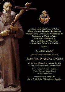 Cartel de este año para el Triduo al Beato Diego J. de Cádiz