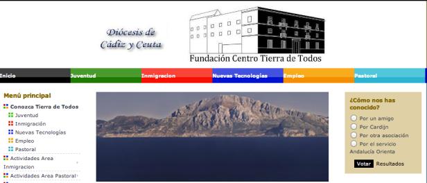Detalle de la página web de la Fundación diocesana