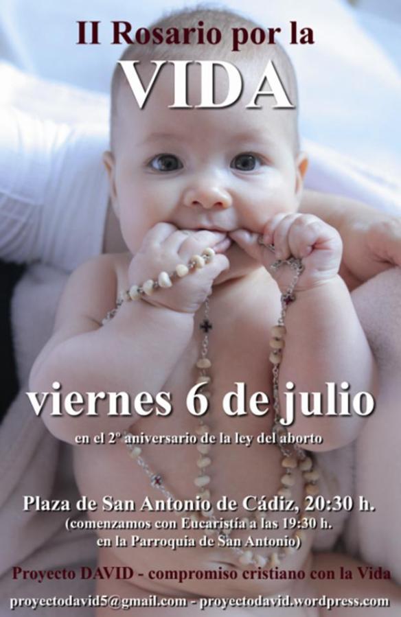 Cartel anunciador del Rosario por la vida en Cádiz