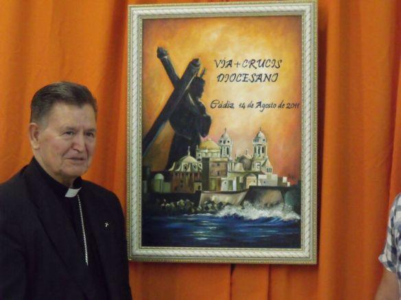 Don Antonio Ceballos durante la presentación del cartel anunciador del Vía Crucis Diocesano