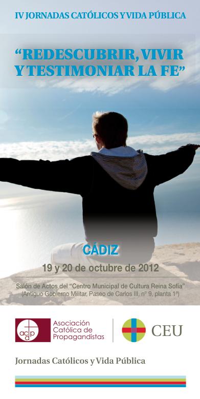 """Cartel para las IV Jornadas de """"Católicos y Vida Pública"""" en Cádiz"""