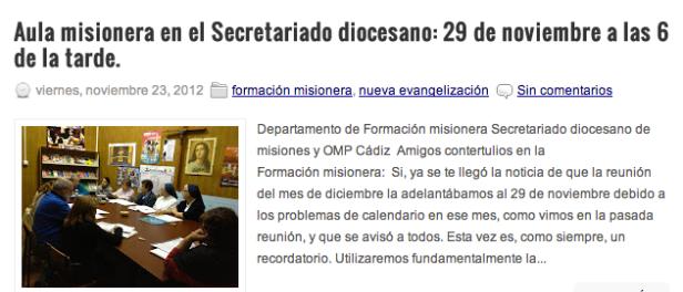 """Noticia publicada en el Blog de """"Misiones"""""""