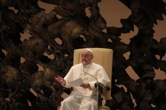 El Papa Francisco durante la audiencia de esta mañana
