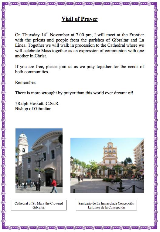 Convocatoria desde el obispado católico de Gibraltar